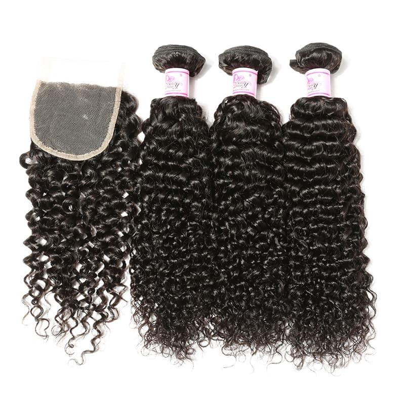 Indian Hair 4 Bundles with Lace Closure Curly Hair 100% Human Hair