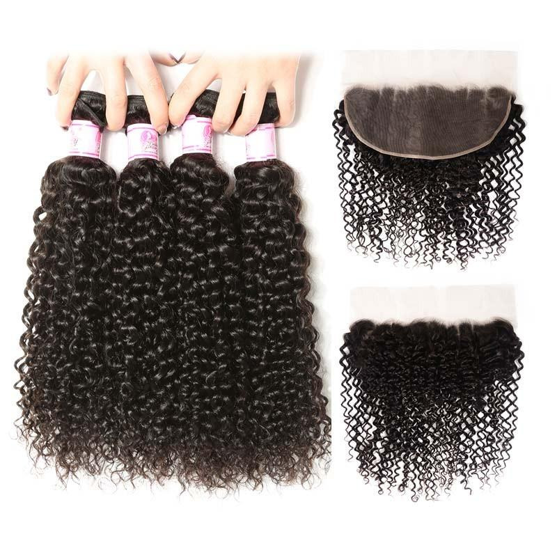 Brazilian Hair 4 Bundles with Lace Frontal Curly Hair 100% Human Hair