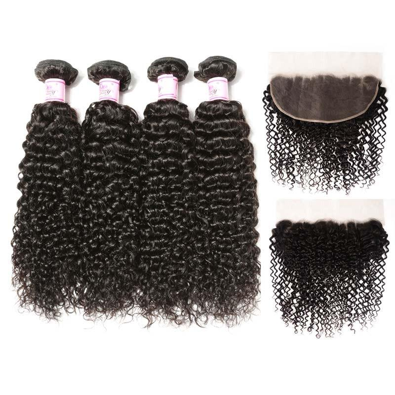 Indian Hair 4 Bundles with Lace Frontal Curly Hair 100% Human Hair