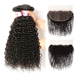 Peruvian Hair 4 Bundles with Lace Frontal Curly Hair 100% Human Hair