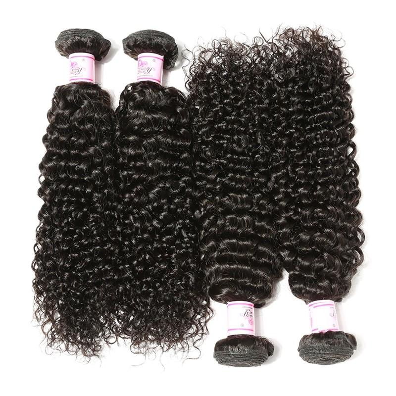Malaysian Hair 4 Bundles with Lace Frontal Curly Hair 100% Human Hair