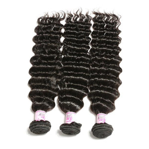 Peruvian Virgin Hair Weave 3 Bundles Deep Wave Hair 100% Human Hair