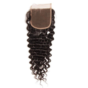 Malaysian Hair 3 Bundles with Lace Closure Deep Wave Hair 100% Human Hair