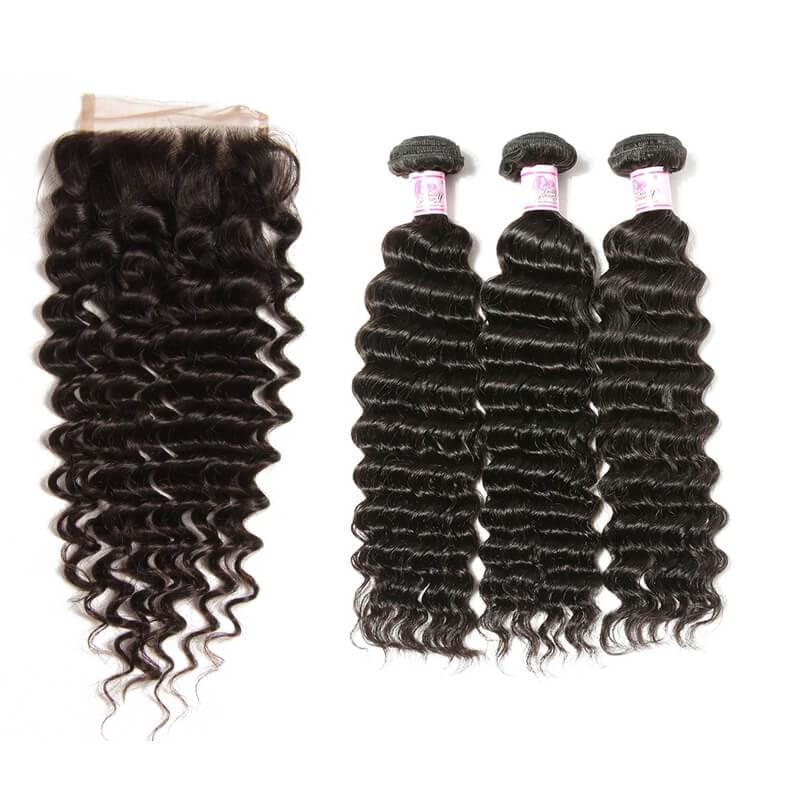 Brazilian Hair 3 Bundles with Lace Closure Deep Wave Hair 100% Human Hair