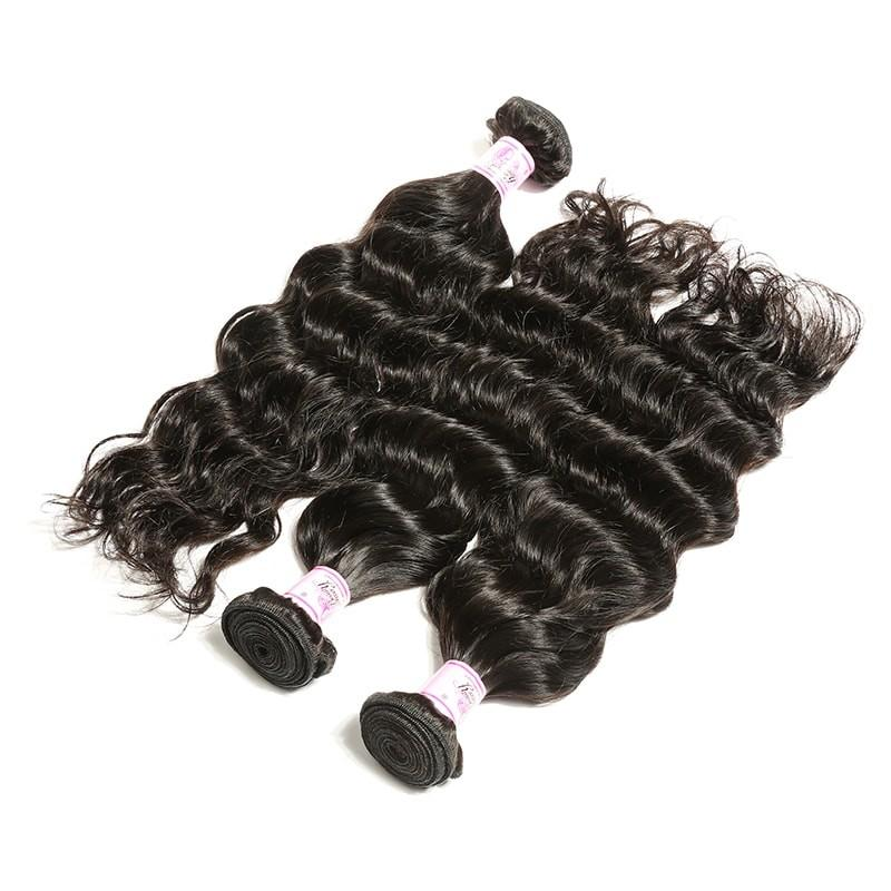 Indian Hair 3 Bundles with Lace Frontal Deep Wave Hair 100% Human Hair