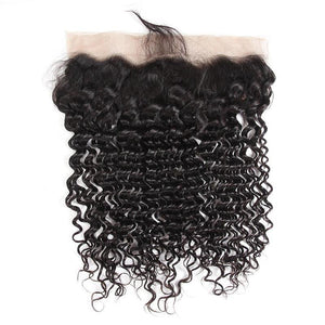 Peruvian Hair 3 Bundles with Lace Frontal Deep Wave Hair 100% Human Hair