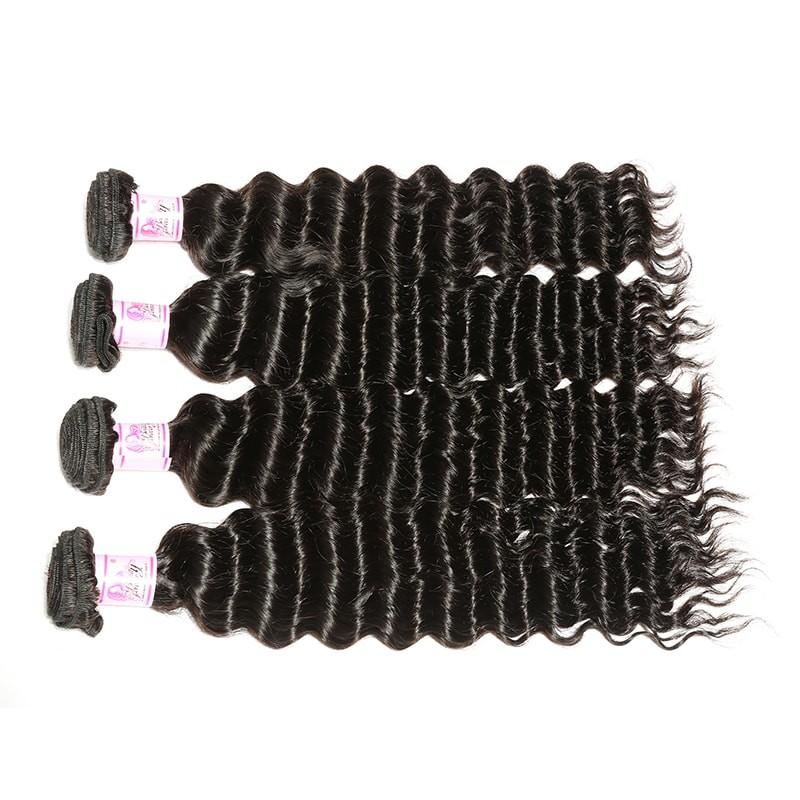 Indian Hair 4 Bundles with Lace Frontal Deep Wave Hair 100% Human Hair