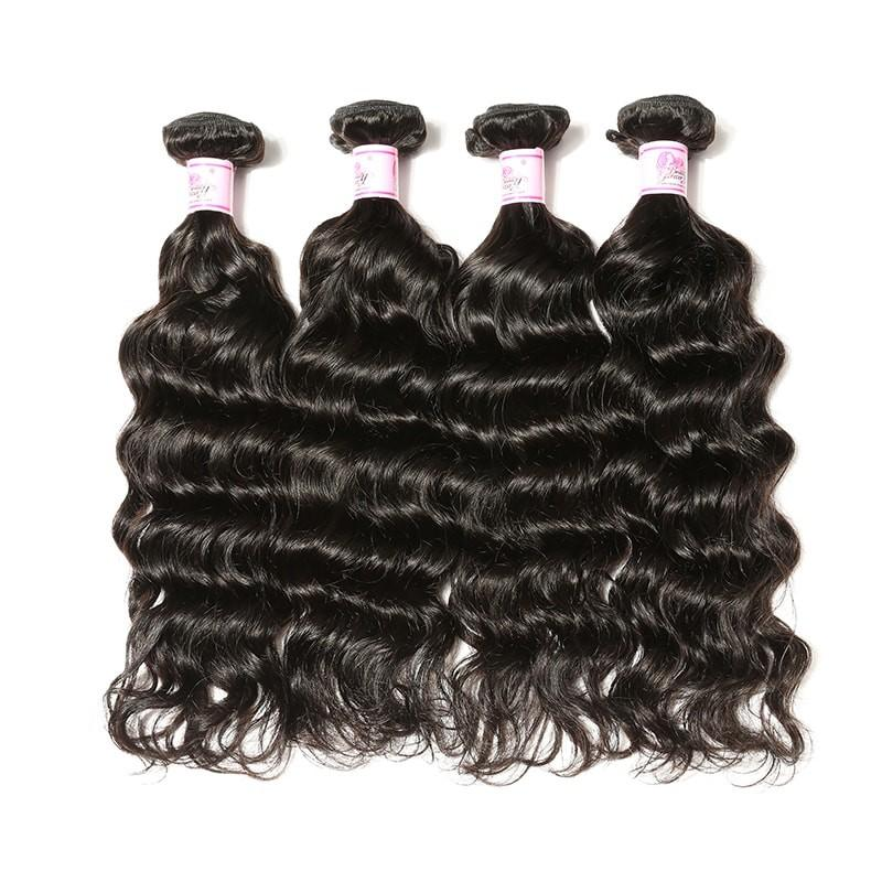 Peruvian Hair 4 Bundles with Lace Closure Deep Wave Hair 100% Human Hair