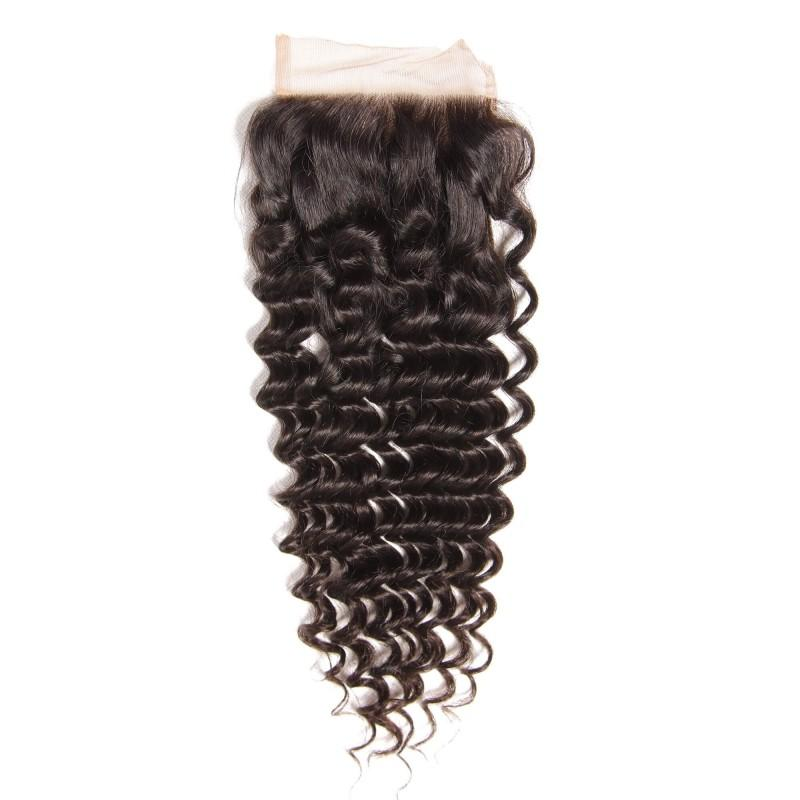 Indian Hair 4 Bundles with Lace Closure Deep Wave Hair 100% Human Hair