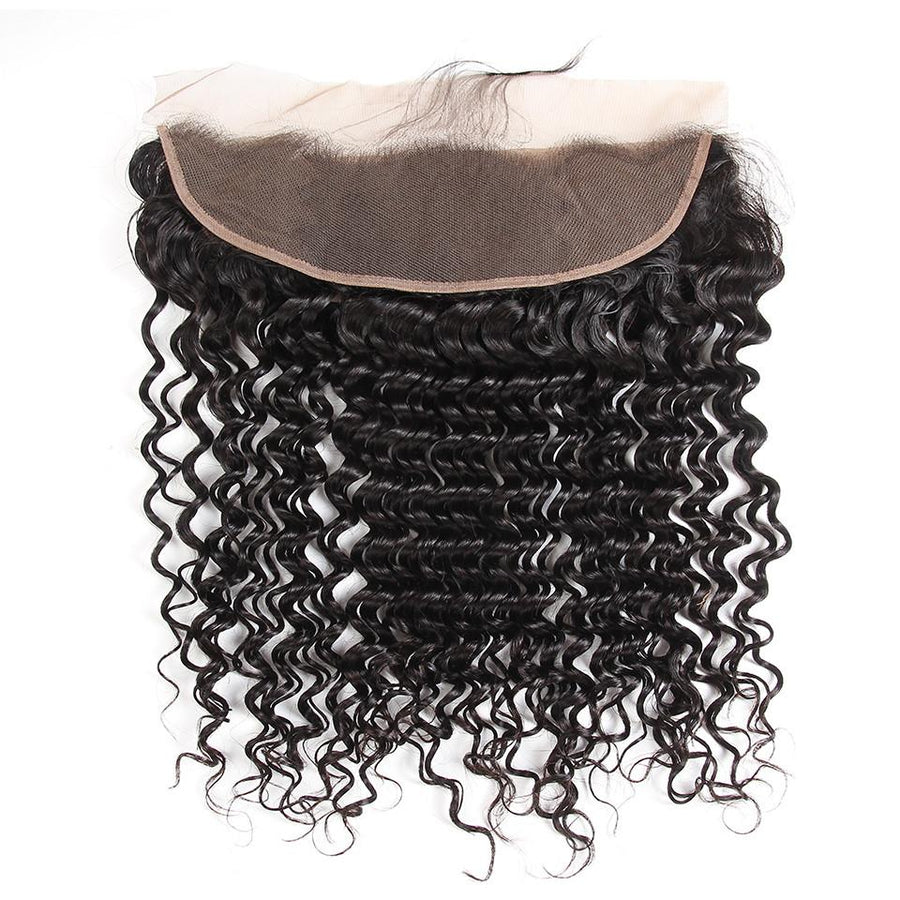 Peruvian Hair 4 Bundles with Lace Frontal Deep Wave Hair 100% Human Hair