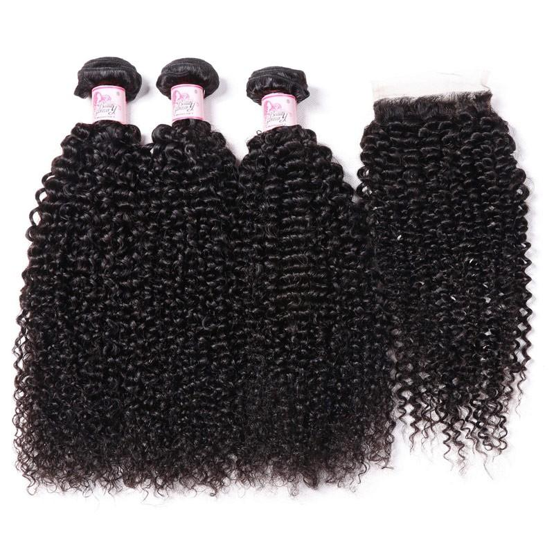 Indian Hair 3 Bundles with Lace Closure Kinky Curly Hair 100% Human Hair