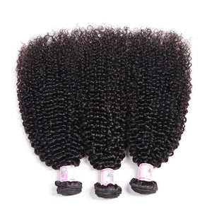 Brazilian Hair 3 Bundles with Lace Closure Kinky Curly Hair 100% Human Hair