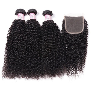 Malaysian Hair 3 Bundles with Lace Closure Kinky Curly Hair 100% Human Hair