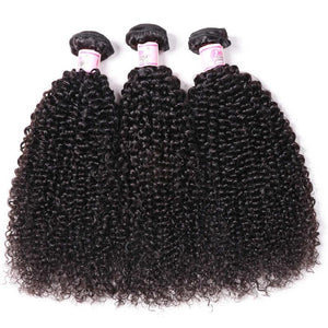 Indian Hair 3 Bundles with Lace Frontal Kinky Curly Hair 100% Human Hair