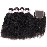 Peruvian Hair 4 Bundles with Lace Closure Kinky Curly Hair 100% Human Hair