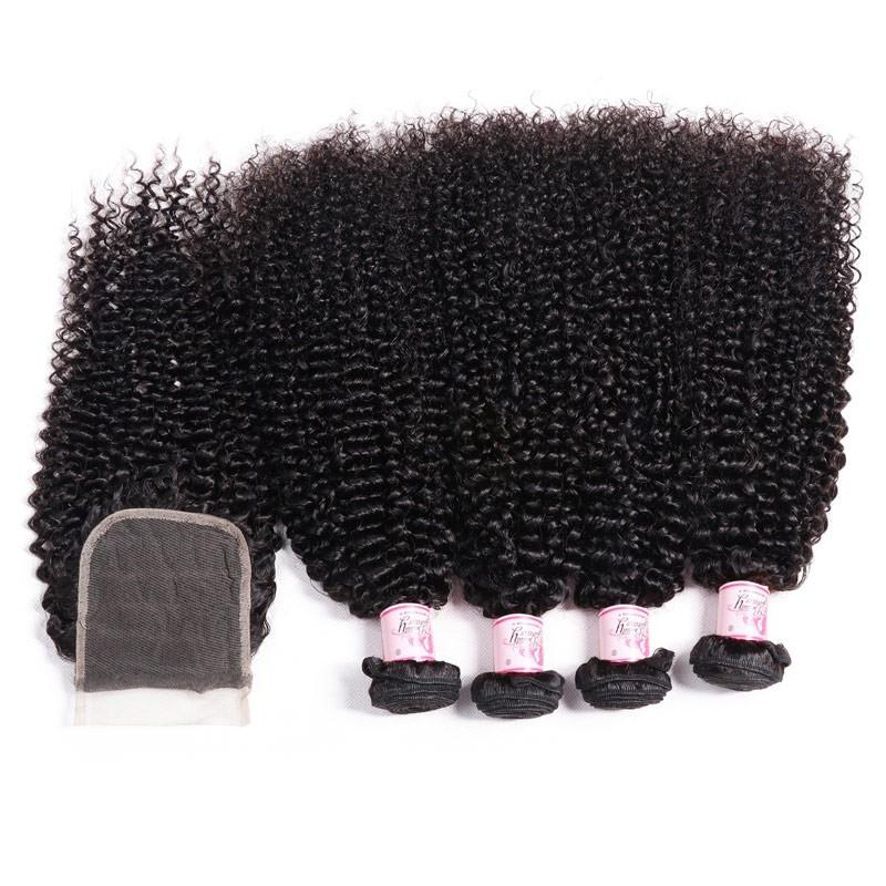 Brazilian Hair 4 Bundles with Lace Closure Kinky Curly Hair 100% Human Hair