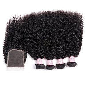 Malaysian Hair 4 Bundles with Lace Closure Kinky Curly Hair 100% Human Hair