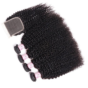 Indian Hair 4 Bundles with Lace Closure Kinky Curly Hair 100% Human Hair