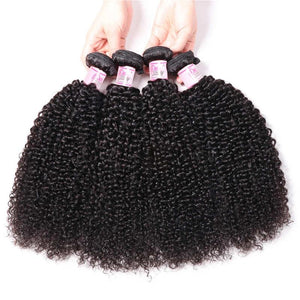 Brazilian Hair 4 Bundles with Lace Frontal Kinky Curly Hair 100% Human Hair