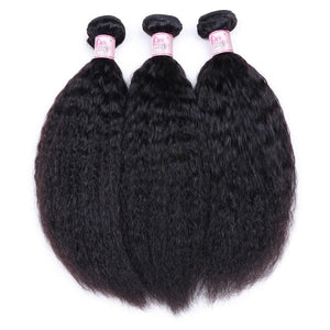 Peruvian Virgin Hair Weave 3 Bundles Kinky Straight Hair 100% Human Hair