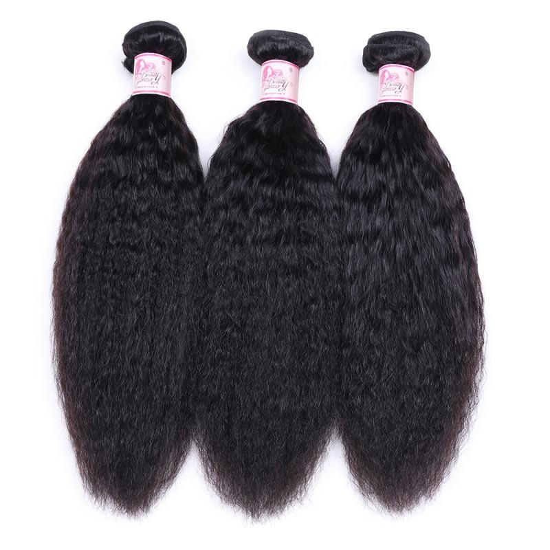 Indian Virgin Hair Weave 3 Bundles Kinky Straight Hair