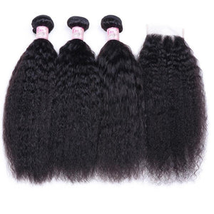 Brazilian Hair 3 Bundles with Lace Closure Kinky Straight Hair 100% Human Hair