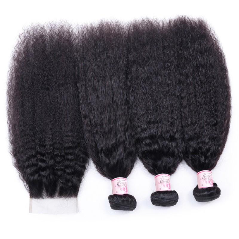 Indian Hair 3 Bundles with Lace Closure Kinky Straight Hair 100% Human Hair