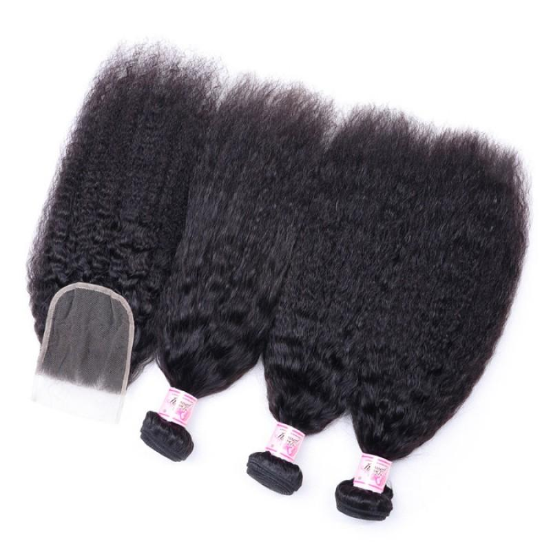 Malaysian Hair 3 Bundles with Lace Closure Kinky Straight Hair 100% Human Hair