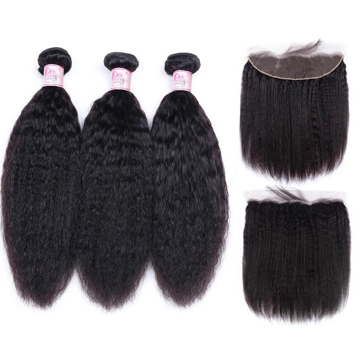 Malaysian Hair 3 Bundles with Lace Frontal Kinky Straight Hair