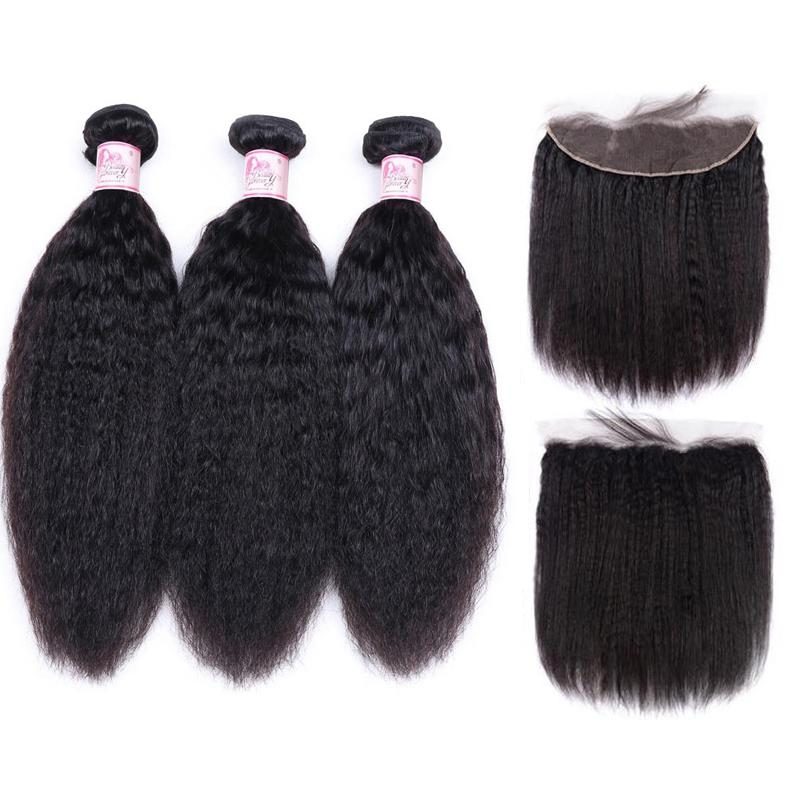 Brazilian Hair 3 Bundles with Lace Frontal Kinky Straight Hair