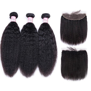 Indian Hair 3 Bundles with Lace Frontal Kinky Straight Hair