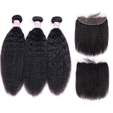 Indian Hair 3 Bundles with Lace Frontal Kinky Straight Hair 100% Human Hair