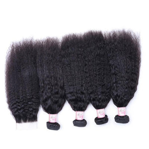 Malaysian Hair 4 Bundles with Lace Closure Kinky Straight Hair 100% Human Hair