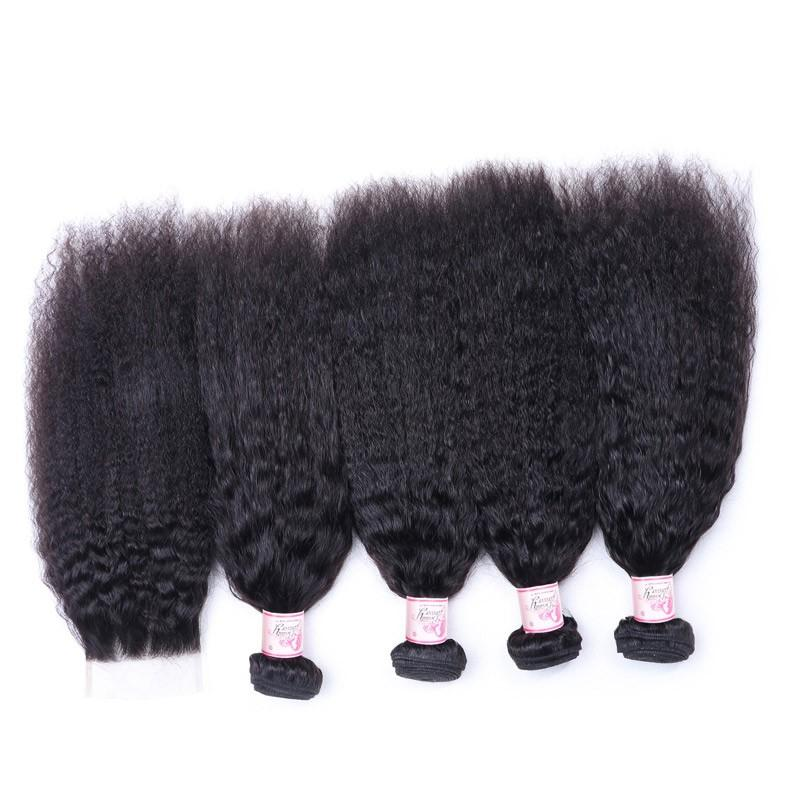 Peruvian Hair 4 Bundles with Lace Closure Kinky Straight Hair 100% Human Hair