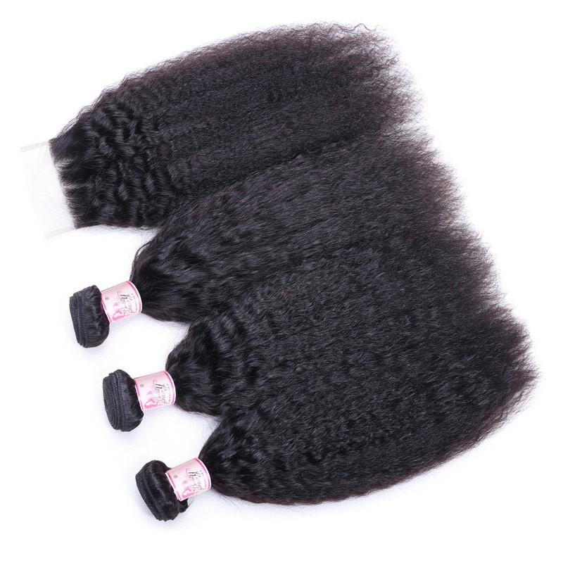 Indian Hair 4 Bundles with Lace Closure Kinky Straight Hair 100% Human Hair