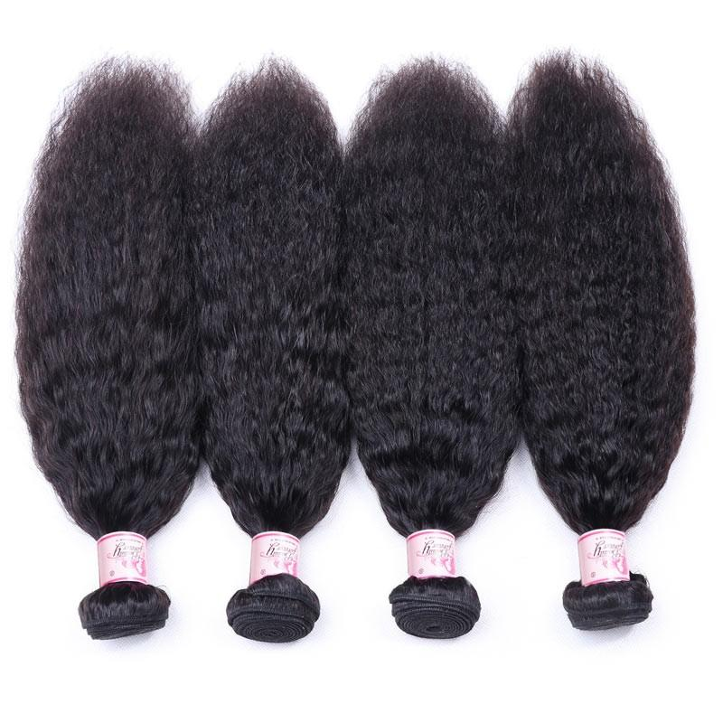 Peruvian Hair 4 Bundles with Lace Frontal Kinky Straight Hair 100% Human Hair