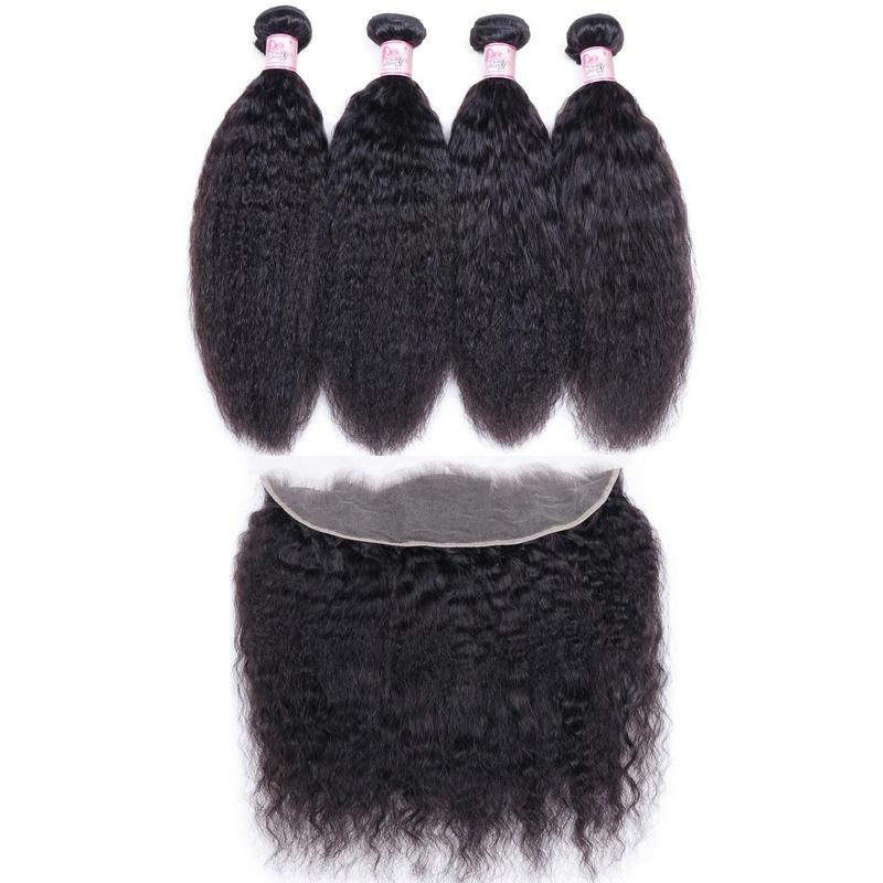 Peruvian Hair 4 Bundles with Lace Frontal Kinky Straight Hair