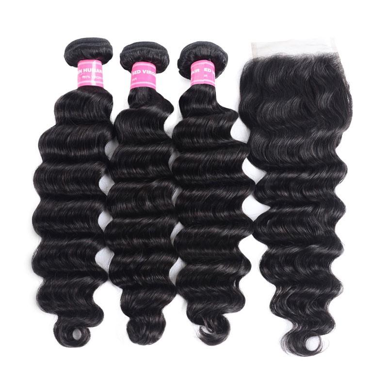Peruvian Hair 3 Bundles with Lace Closure Loose Deep Hair 100% Human Hair