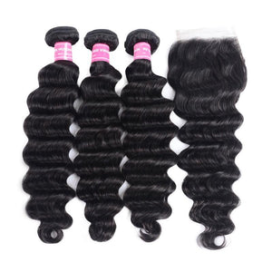 Indian Hair 3 Bundles with Lace Closure Loose Deep Hair 100% Human Hair