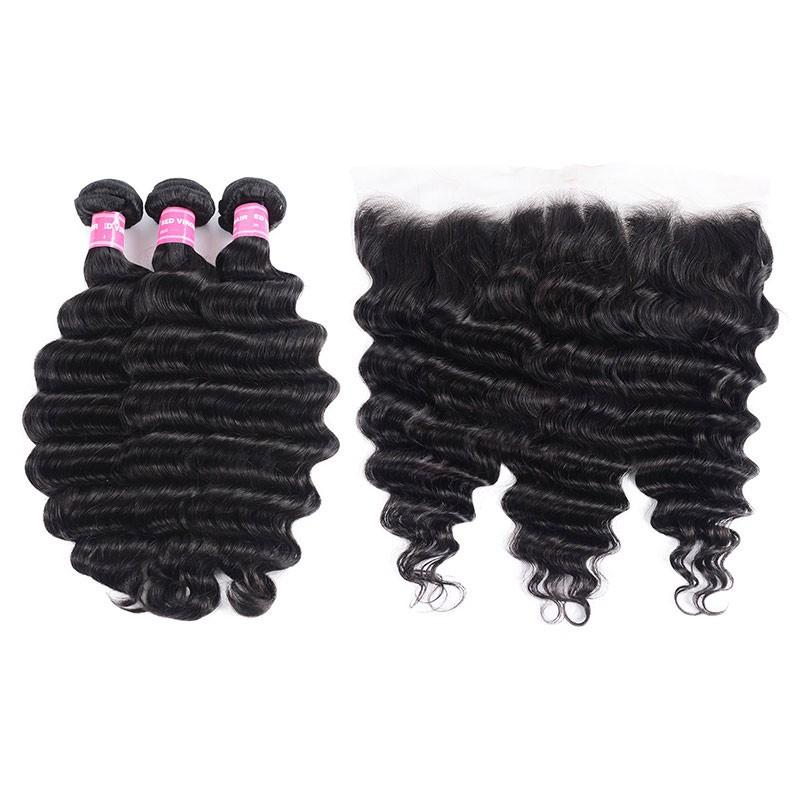 Malaysian Hair 3 Bundles with Lace Frontal Loose Deep Hair 100% Human Hair