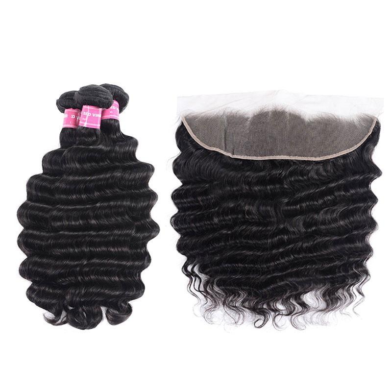 Indian Hair 3 Bundles with Lace Frontal Loose Deep Hair 100% Human Hair