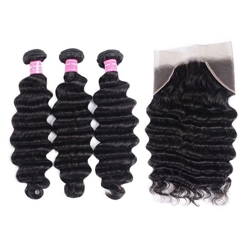 Brazilian Hair 3 Bundles with Lace Frontal Loose Deep Hair