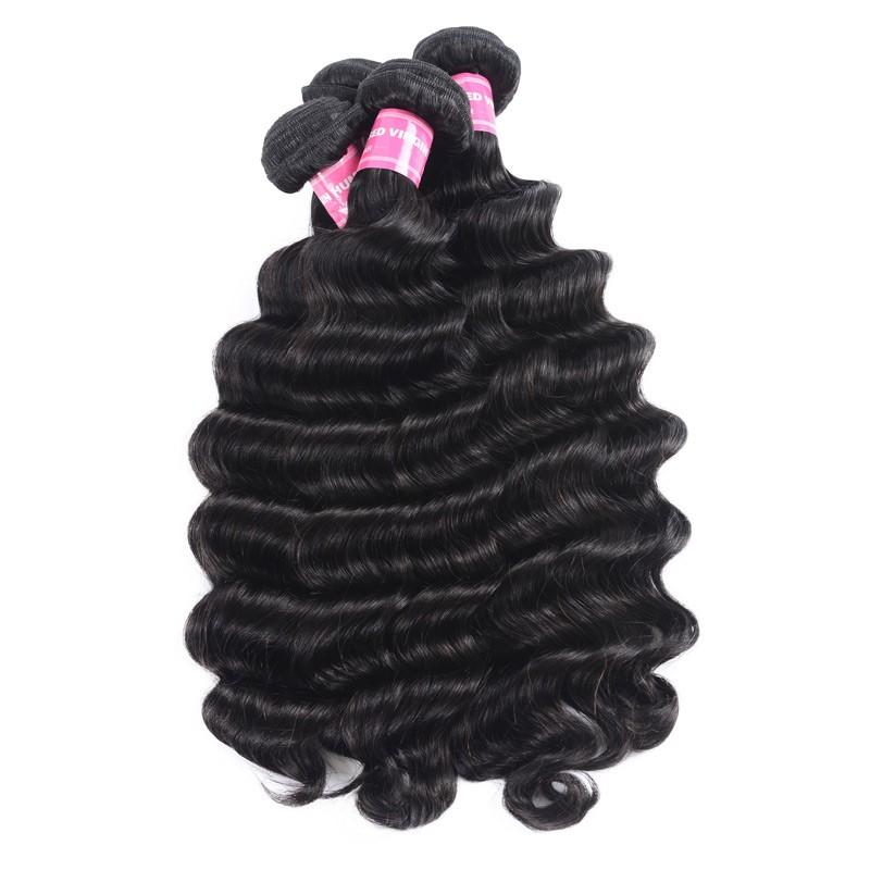 Indian Virgin Hair Weave 4 Bundles Loose Deep Hair 100% Human Hair