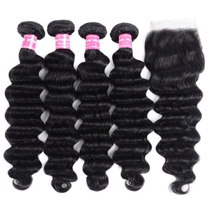 Indian Hair 4 Bundles with Lace Closure Loose Deep Hair 100% Human Hair