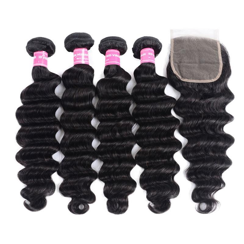 Peruvian Hair 4 Bundles with Lace Closure Loose Deep Hair 100% Human Hair