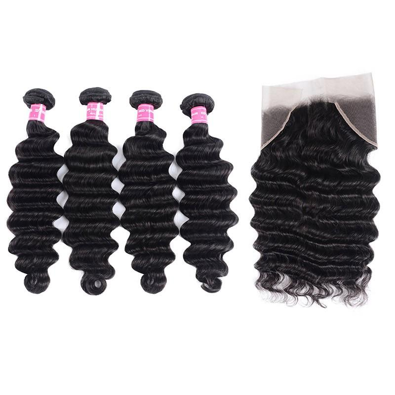 Indian Hair 4 Bundles with Lace Frontal Loose Deep Hair 100% Human Hair