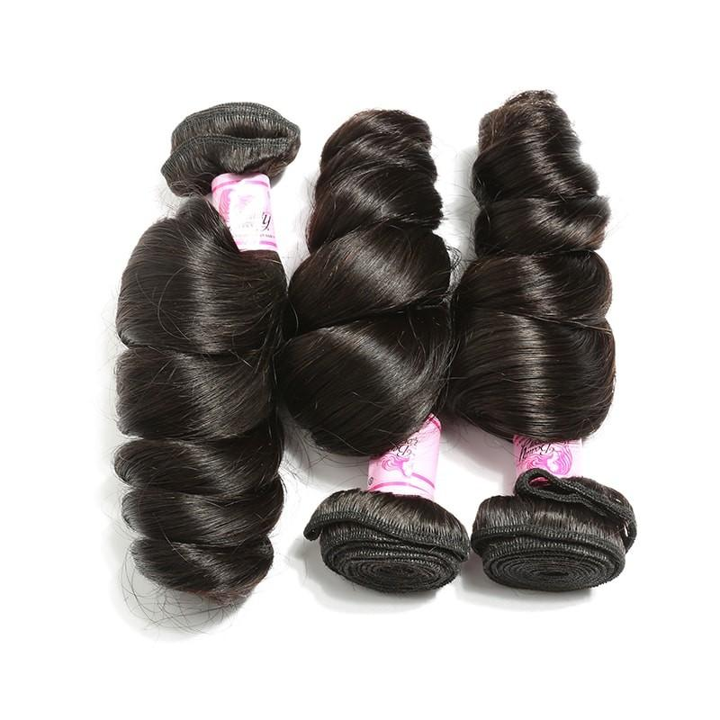 Brazilian Hair 3 Bundles with Lace Closure Loose Wave Hair 100% Human Hair