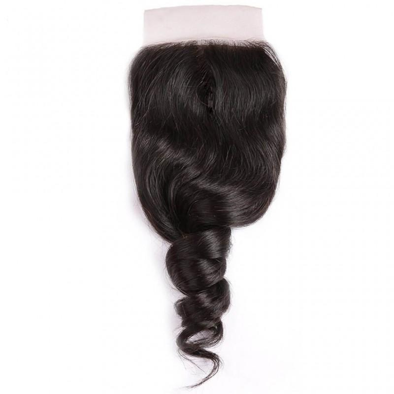 Indian Hair 3 Bundles with Lace Closure Loose Wave Hair 100% Human Hair