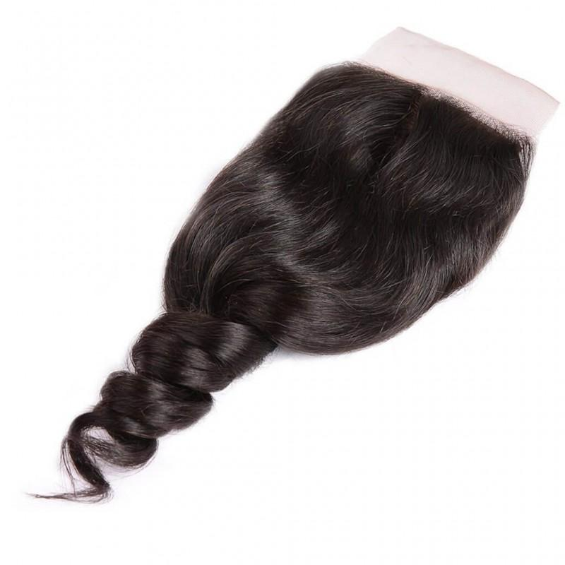 Peruvian Hair 3 Bundles with Lace Closure Loose Wave Hair 100% Human Hair