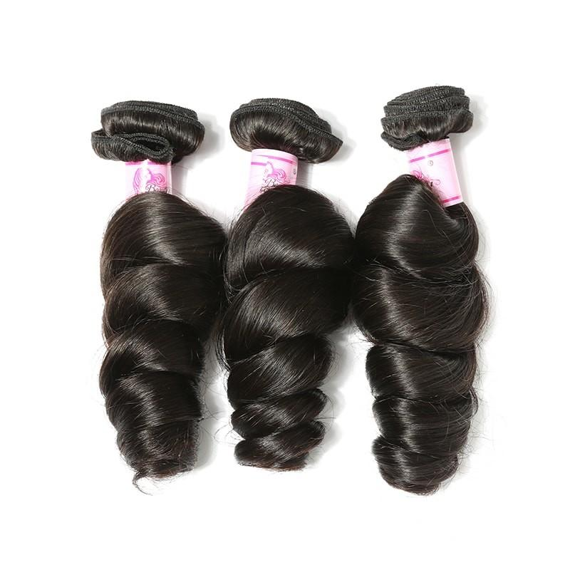 Brazilian Hair 3 Bundles with Lace Frontal Loose Wave Hair 100% Human Hair